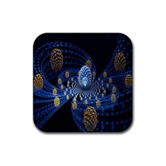 Fractal Balls Flying Ultra Space Circle Round Line Light Blue Sky Gold Rubber Coaster (square)  by Mariart
