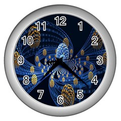 Fractal Balls Flying Ultra Space Circle Round Line Light Blue Sky Gold Wall Clocks (silver)  by Mariart