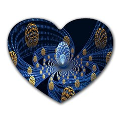 Fractal Balls Flying Ultra Space Circle Round Line Light Blue Sky Gold Heart Mousepads by Mariart
