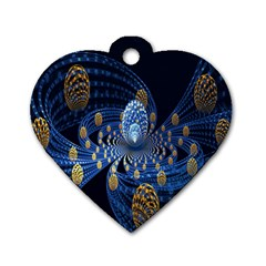Fractal Balls Flying Ultra Space Circle Round Line Light Blue Sky Gold Dog Tag Heart (one Side) by Mariart