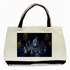 Fractal Balls Flying Ultra Space Circle Round Line Light Blue Sky Gold Basic Tote Bag (two Sides) by Mariart