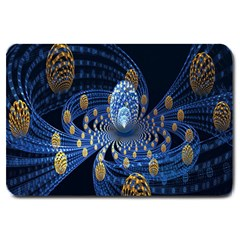 Fractal Balls Flying Ultra Space Circle Round Line Light Blue Sky Gold Large Doormat  by Mariart