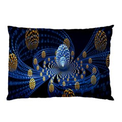 Fractal Balls Flying Ultra Space Circle Round Line Light Blue Sky Gold Pillow Case by Mariart