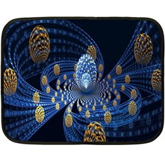 Fractal Balls Flying Ultra Space Circle Round Line Light Blue Sky Gold Fleece Blanket (mini) by Mariart