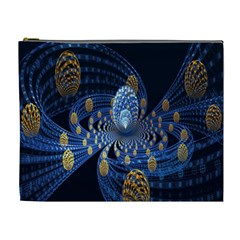 Fractal Balls Flying Ultra Space Circle Round Line Light Blue Sky Gold Cosmetic Bag (xl)