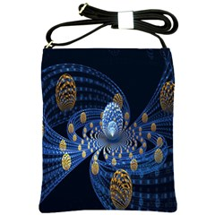 Fractal Balls Flying Ultra Space Circle Round Line Light Blue Sky Gold Shoulder Sling Bags by Mariart