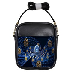 Fractal Balls Flying Ultra Space Circle Round Line Light Blue Sky Gold Girls Sling Bags by Mariart