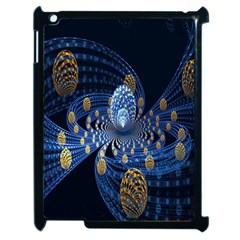 Fractal Balls Flying Ultra Space Circle Round Line Light Blue Sky Gold Apple Ipad 2 Case (black) by Mariart