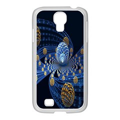 Fractal Balls Flying Ultra Space Circle Round Line Light Blue Sky Gold Samsung Galaxy S4 I9500/ I9505 Case (white)