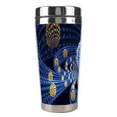 Fractal Balls Flying Ultra Space Circle Round Line Light Blue Sky Gold Stainless Steel Travel Tumblers by Mariart