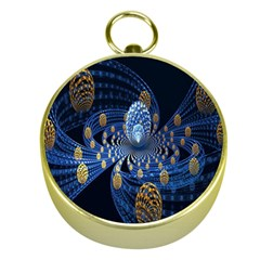 Fractal Balls Flying Ultra Space Circle Round Line Light Blue Sky Gold Gold Compasses by Mariart
