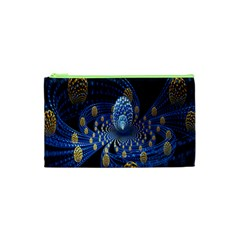 Fractal Balls Flying Ultra Space Circle Round Line Light Blue Sky Gold Cosmetic Bag (xs) by Mariart