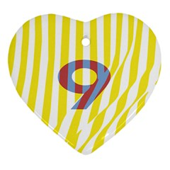 Number 9 Line Vertical Yellow Red Blue White Wae Chevron Ornament (heart) by Mariart