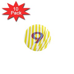 Number 9 Line Vertical Yellow Red Blue White Wae Chevron 1  Mini Magnet (10 Pack)  by Mariart