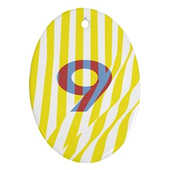 Number 9 Line Vertical Yellow Red Blue White Wae Chevron Oval Ornament (two Sides) by Mariart