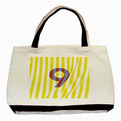 Number 9 Line Vertical Yellow Red Blue White Wae Chevron Basic Tote Bag (two Sides) by Mariart