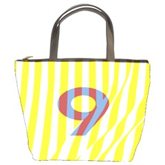 Number 9 Line Vertical Yellow Red Blue White Wae Chevron Bucket Bags by Mariart
