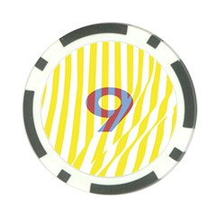 Number 9 Line Vertical Yellow Red Blue White Wae Chevron Poker Chip Card Guard (10 Pack) by Mariart