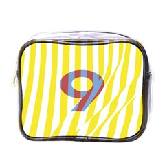 Number 9 Line Vertical Yellow Red Blue White Wae Chevron Mini Toiletries Bags by Mariart