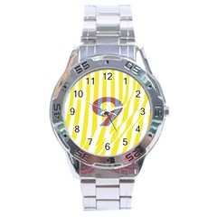 Number 9 Line Vertical Yellow Red Blue White Wae Chevron Stainless Steel Analogue Watch