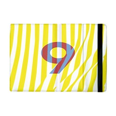 Number 9 Line Vertical Yellow Red Blue White Wae Chevron Apple Ipad Mini Flip Case by Mariart