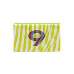 Number 9 Line Vertical Yellow Red Blue White Wae Chevron Cosmetic Bag (xs) by Mariart