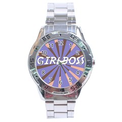 Girlboss Light Line Wave Chevron Stainless Steel Analogue Watch by Mariart