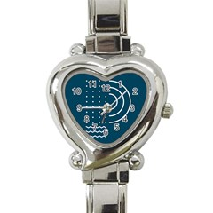 Parachute Water Blue Waves Circle White Heart Italian Charm Watch by Mariart