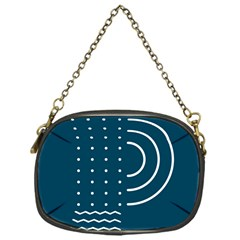 Parachute Water Blue Waves Circle White Chain Purses (one Side)  by Mariart