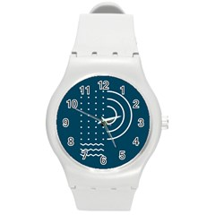 Parachute Water Blue Waves Circle White Round Plastic Sport Watch (m) by Mariart