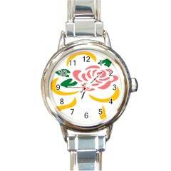 Pink Rose Ribbon Bouquet Green Yellow Flower Floral Round Italian Charm Watch