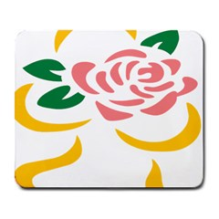 Pink Rose Ribbon Bouquet Green Yellow Flower Floral Large Mousepads by Mariart