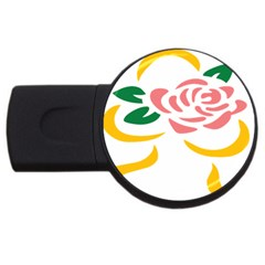 Pink Rose Ribbon Bouquet Green Yellow Flower Floral Usb Flash Drive Round (4 Gb) by Mariart