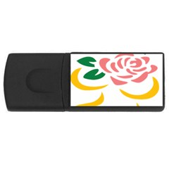 Pink Rose Ribbon Bouquet Green Yellow Flower Floral Usb Flash Drive Rectangular (4 Gb) by Mariart