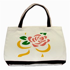 Pink Rose Ribbon Bouquet Green Yellow Flower Floral Basic Tote Bag by Mariart
