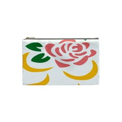 Pink Rose Ribbon Bouquet Green Yellow Flower Floral Cosmetic Bag (small)