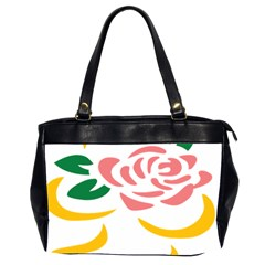 Pink Rose Ribbon Bouquet Green Yellow Flower Floral Office Handbags (2 Sides)  by Mariart