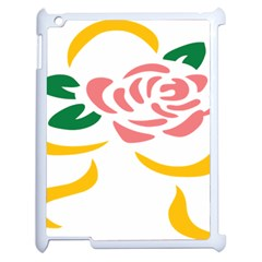 Pink Rose Ribbon Bouquet Green Yellow Flower Floral Apple Ipad 2 Case (white) by Mariart