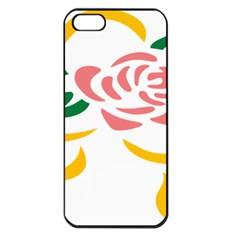 Pink Rose Ribbon Bouquet Green Yellow Flower Floral Apple Iphone 5 Seamless Case (black) by Mariart