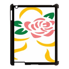 Pink Rose Ribbon Bouquet Green Yellow Flower Floral Apple Ipad 3/4 Case (black) by Mariart