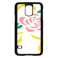 Pink Rose Ribbon Bouquet Green Yellow Flower Floral Samsung Galaxy S5 Case (black) by Mariart