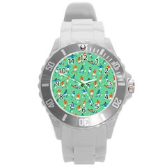 Players Football Playing Sports Dribbling Kicking Goalkeepers Round Plastic Sport Watch (l) by Mariart