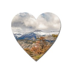 Forest And Snowy Mountains, Patagonia, Argentina Heart Magnet by dflcprints