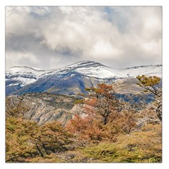Forest And Snowy Mountains, Patagonia, Argentina Large Satin Scarf (square) by dflcprints
