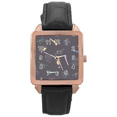 Bottle Party Glasses Rose Gold Leather Watch  by Mariart