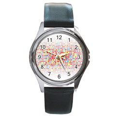 Random Sized Cube Multiple Plaid Color Rainbow Round Metal Watch by Mariart