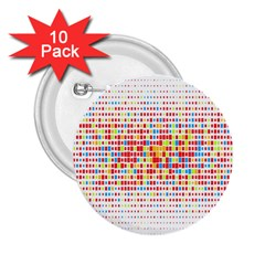 Random Sized Cube Multiple Plaid Color Rainbow 2 25  Buttons (10 Pack)