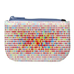 Random Sized Cube Multiple Plaid Color Rainbow Large Coin Purse