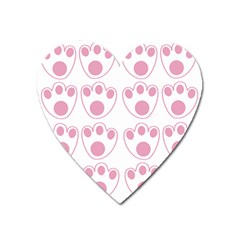 Rabbit Feet Paw Pink Foot Animals Heart Magnet by Mariart