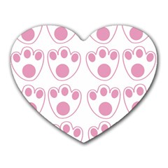 Rabbit Feet Paw Pink Foot Animals Heart Mousepads by Mariart
